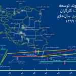 نقشه روند توسعه اعتراضات کارگران معدن بین سالهای ۱۳۹۳ تا ۱۳۹۹